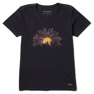 Life Is Good. Womens Crusher Vee Watercolor Daisy Camp, Jet Black