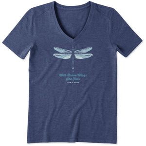 Life Is Good. Womens Cool Vee Detailed Dragonfly, Darkest Blue