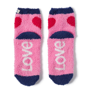 Life is Good. Women's Snuggle Socks - Love, Happy Pink
