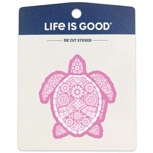 Life is Good Small Die Cut Sticker, Beautiful Turtle