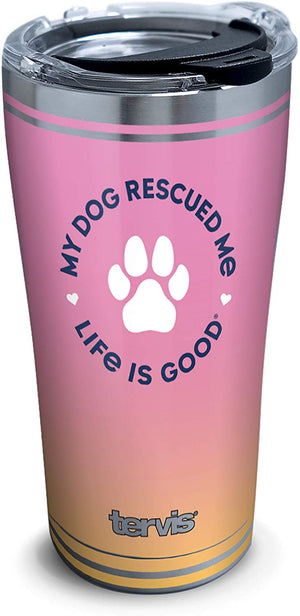 Life is Good. TERVIS Insulated Stainless Steel Tumbler LIG Rescue Dog Paw Print, 20oz