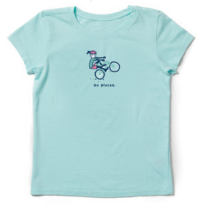 Life Is Good. Girls Crusher Tee Go Places Jackie, Bermuda Blue