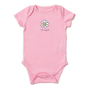 Life Is Good. Babies Crusher Tee Lig Daisy, Happy Pink