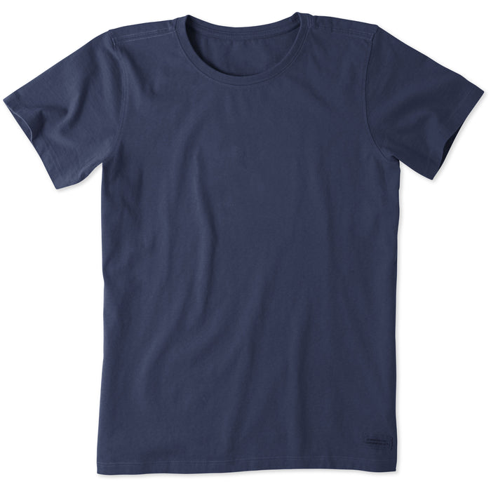 Life Is Good. Womens Solid Crusher Tee, Darkest Blue