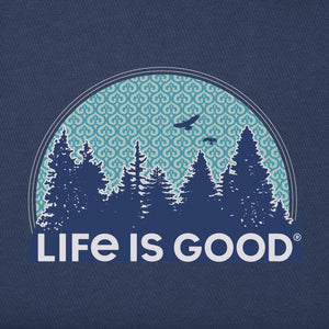 Life Is Good. Womens Crusher Tee Funky Outdoor Pattern, Darkest Blue