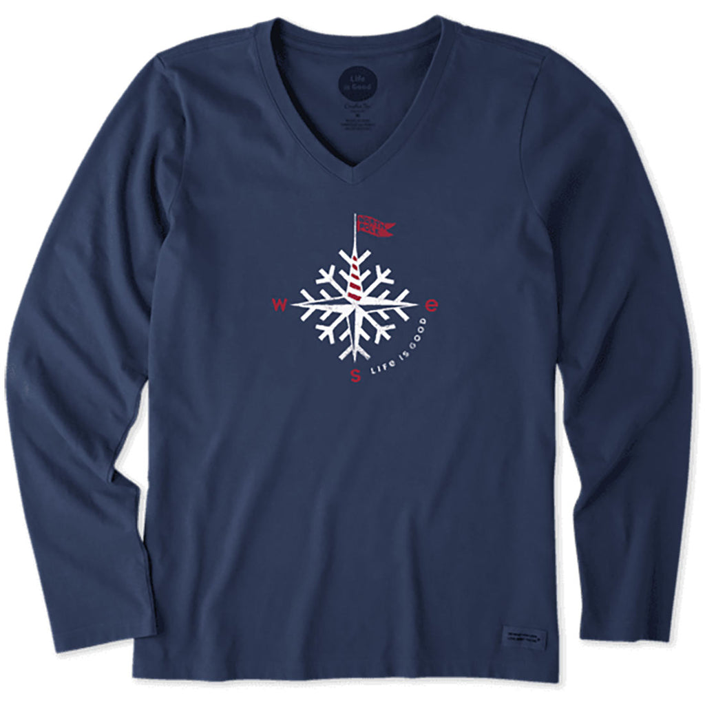 Life is Good. womens crusher Vee Long Sleeve Compass Snowflake, Darkest Blue