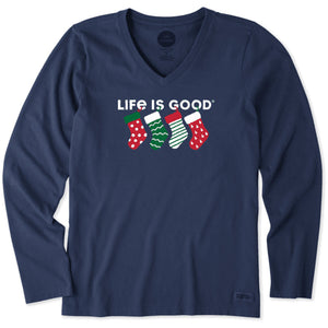 Life is Good Women's Long Sleeve Crusher Vee Family Stockings, Darkest Blue