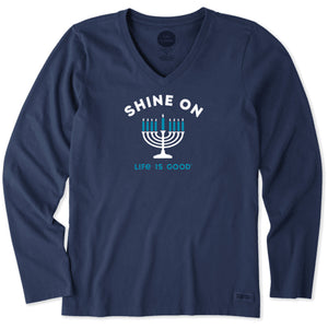 Life is Good Women's Long Sleeve Crusher Vee Shine On Menorah, Darkest Blue