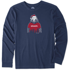 Life is Good. mens crusher tee long sleeve Grandpa Santa Bear, Darkest Blue