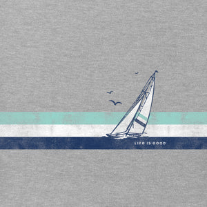 Life is Good Men's Sail Stripes Long Sleeve Crusher Tee, Heather Gray