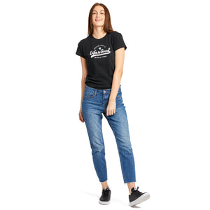 Life is Good Women's Ballyard Positive Lifestyle Textured Slub Tee, Jet Black