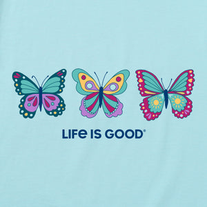 Life is Good Women's Happy Butterflies Snuggle Up Relaxed Sleep Vee, Beach Blue