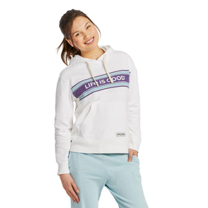 Life is Good Women's LIG Seam Stripes Simply True Hoodie, Cloud White