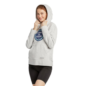 Life is Good Women's LIG Coin Simply True Hoodie, Light Heather Gray