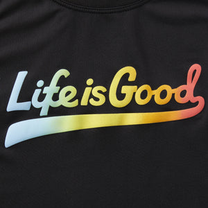 Life is Good. Women's Active Tank LIG Ballyard Script, Jet Black
