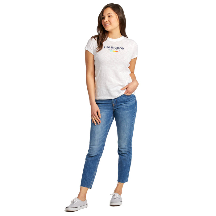 Life is Good Women's Textured Slub Tee LIG Est 1994 All Colors, Cloud White