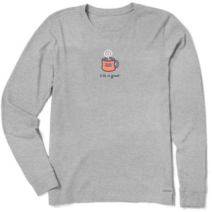 Life is Good Women's Hot Mug Long Sleeve Vintage Crusher Tee, Heather Gray