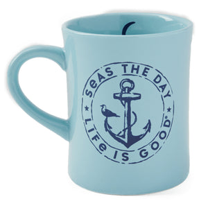 Life is Good Seas The Day Diner Mug, Beach Blue - One Size