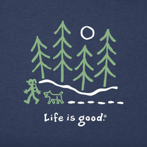 Life is Good Women's Moonlight Woods Long Sleeve Vintage Crusher Tee, Darkest Blue