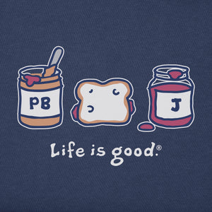 Life is Good Women's Vintage Crusher Tee Peanut Butter and Jelly, Darkest Blue