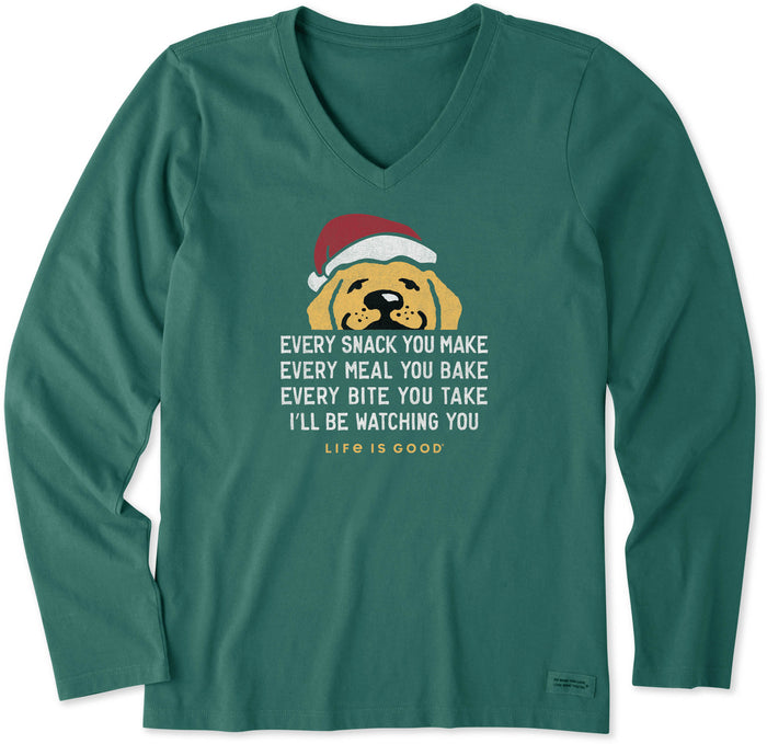 Life is Good Women's Ill Be Watching You Santa Long Sleeve Crusher Vee, Spruce Green