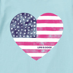 Life is Good Women's Watercolor Flag Heart Long Sleeve Crusher Vee, Beach Blue