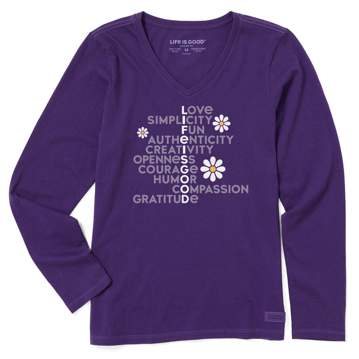Life is Good Women's Superpowers Daisy Long Sleeve Crusher Vee, Deep Purple