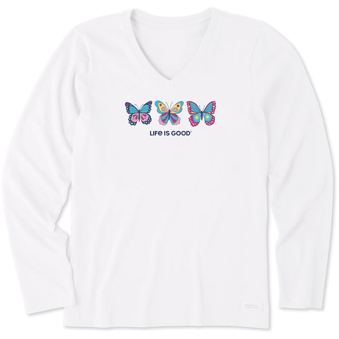 Life is Good Women's Long Sleeve Crusher Tee Happy Butterflies, Cloud White