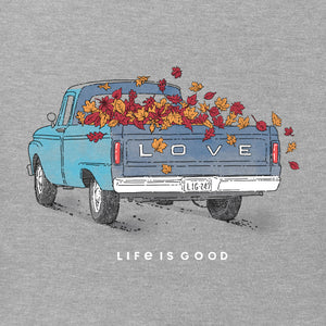 Life is Good Women's Fall Love Truck Long Sleeve Crusher Vee, Heather Gray
