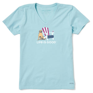 Life is Good Women's American Adirondack Wine Crusher Vee, Beach Blue