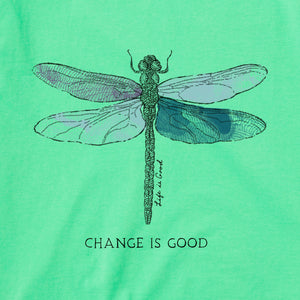 Life is Good Women's Change Dragonfly Crusher Vee, Spearmint Green