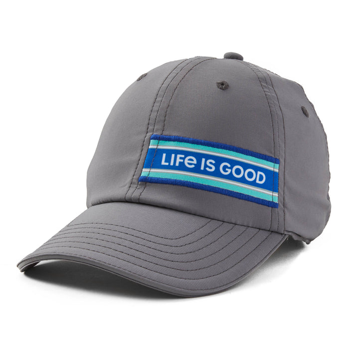Life is Good LIG Stripes Active Chill Cap, Slate Gray - One Size