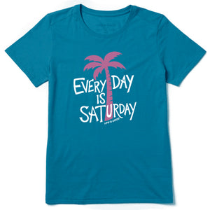 Life is Good. Women's Cool Tee Everyday Is Saturday, Persian Blue