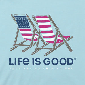 Life is Good Women's Americana Beach Chairs Cool Vee, Beach Blue