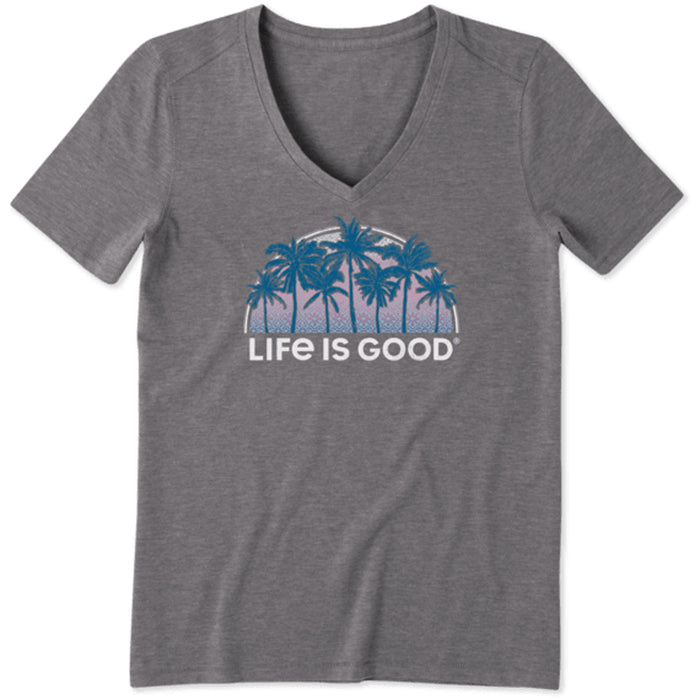Life is Good. Women's Cool Vee Sunny Palms, Slate Gray