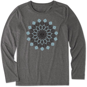 Life is Good Women's Blossoming Mandala Long Sleeve Cool Tee, Slate Gray
