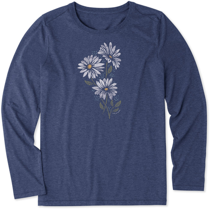Life is Good Women's Strong Daisies Long Sleeve Cool Tee, Darkest Blue