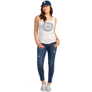 Life is Good Women's Have a Nice Daisy Coin Soft & Simple Fitted Tank, Cloud White