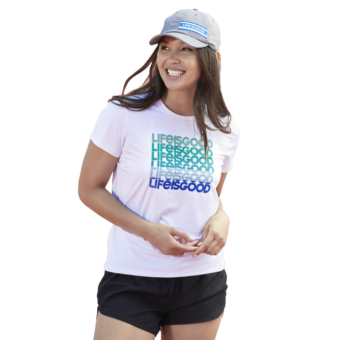 Life is Good. Women's Active Tee Gradient LIG, Cloud White