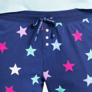 Life is Good Women's Stars Snuggle Up Sleep Jogger, Darkest Blue