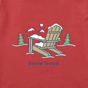 Life is Good Men's Snow Good Long Sleeve Vintage Crusher Tee, Faded Red