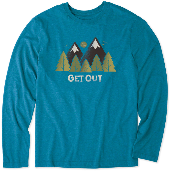 Life is Good Men's Get Out Long Sleeve Cool Tee, Persian Blue