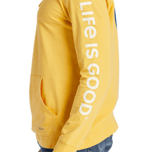 Life is Good. Men's Hooded Crusher Tee Life Isn't Perfect, Baja Yellow