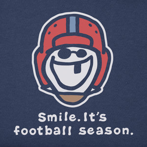 Life is Good Men's Smile, It's Football Season Vintage Crusher Tee, Darkest Blue