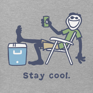 Life is Good Men's Stay Cool Vintage Crusher Tee, Heather Gray