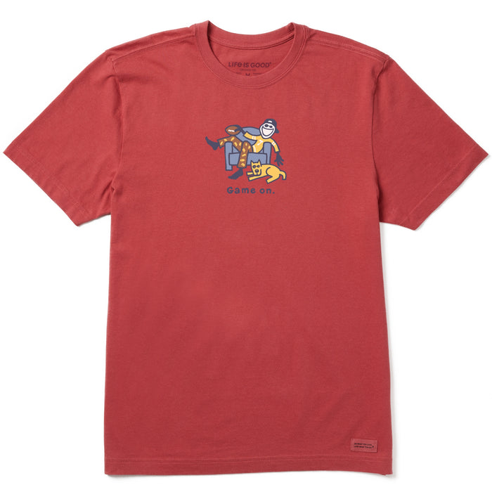Life is Good Men's Game On Vintage Crusher Tee, Faded Red