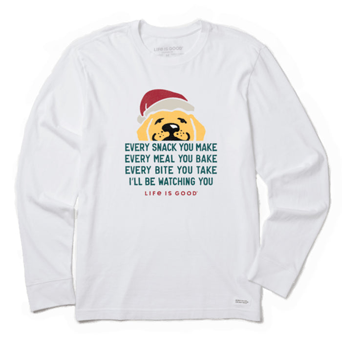 Life is Good Men's Ill Be Watching You Santa Long Sleeve Crusher Tee, Cloud White