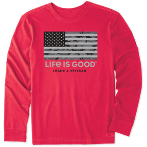 Life is Good Men's Thank A Veteran Long Sleeve Crusher Tee, Positive Red