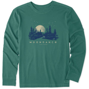 Life is Good Men's Moondance Long Sleeve Crusher Tee, Spruce Green