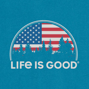 Life is Good Men's American Landscape Long Sleeve Crusher Tee, Persian Blue
